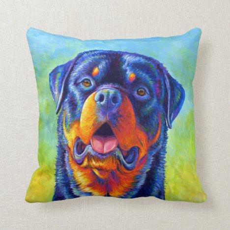 Colorful Rainbow Rottweiler Cute Dog Throw Pillow