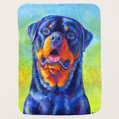 Colorful Rainbow Rottweiler Dog Baby Blanket