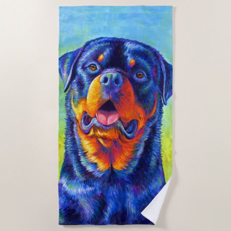 Colorful Rainbow Rottweiler Dog Beach Towel