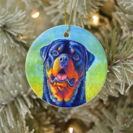Colorful Rainbow Rottweiler Dog Ceramic Ornament