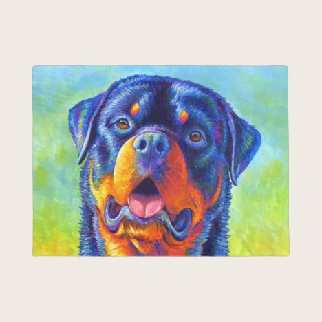 Colorful Rainbow Rottweiler Dog Door Mat