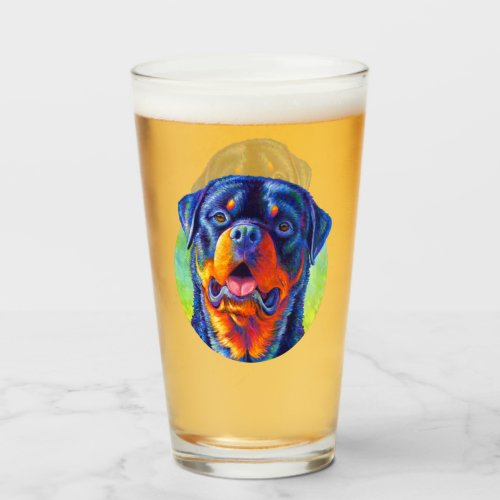 Colorful Rainbow Rottweiler Dog Drinking Glass Cup