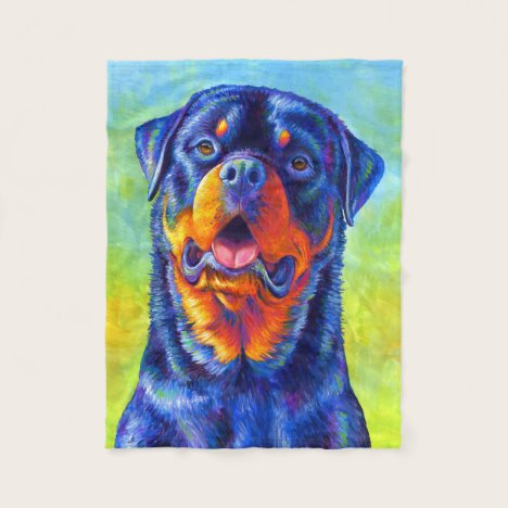 Colorful Rainbow Rottweiler Dog Fleece Blanket