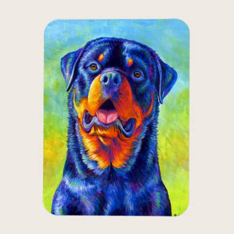 Colorful Rainbow Rottweiler Dog Flexible Magnet