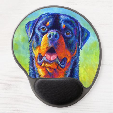 Colorful Rainbow Rottweiler Dog Gel Mouse pad