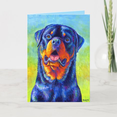 Colorful Rainbow Rottweiler Dog Greeting Card