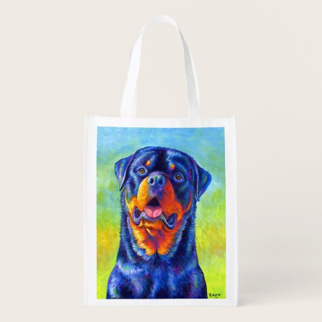 Colorful Rainbow Rottweiler Dog Grocery Bag