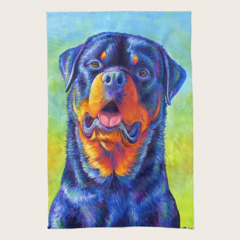 Colorful Rainbow Rottweiler Dog Kitchen Towels