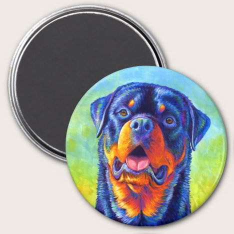 Colorful Rainbow Rottweiler Dog Magnet