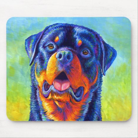 Colorful Rainbow Rottweiler Dog Mouse pad