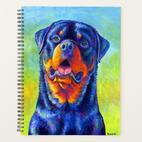 Colorful Rainbow Rottweiler Dog Planner