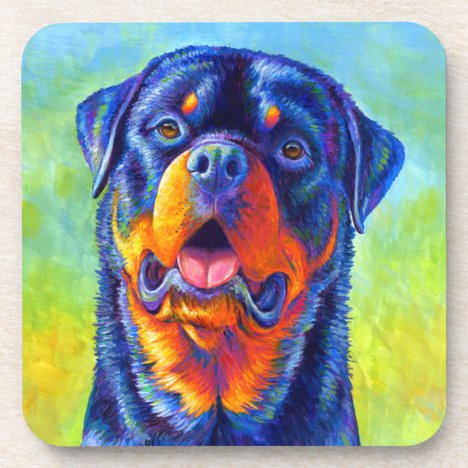 Colorful Rainbow Rottweiler Dog Plastic Coasters