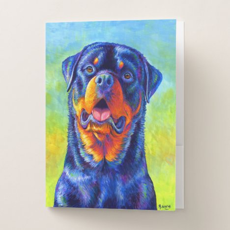 Colorful Rainbow Rottweiler Dog Pocket Folders