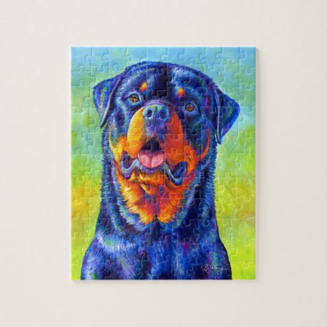 Colorful Rainbow Rottweiler Dog Puzzle