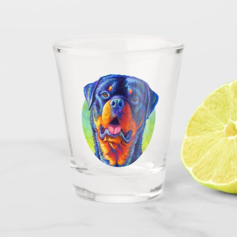 Colorful Rainbow Rottweiler Dog Shot Glass