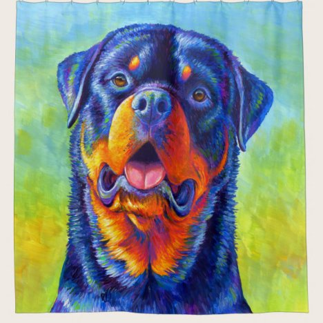 Colorful Rainbow Rottweiler Dog Shower Curtain