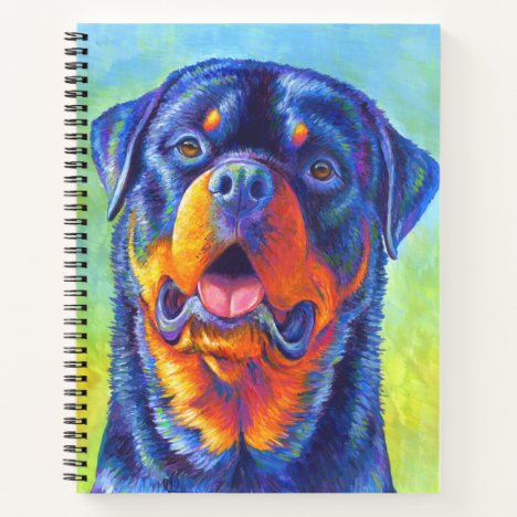 Colorful Rainbow Rottweiler Dog Spiral Notebook