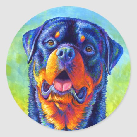 Colorful Rainbow Rottweiler Dog Stickers