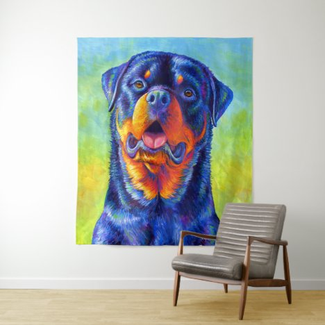 Colorful Rainbow Rottweiler Dog Tapestry