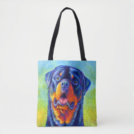 Colorful Rainbow Rottweiler Dog Tote Bag