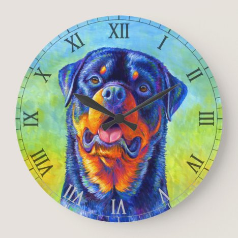 Colorful Rainbow Rottweiler Dog Wall Clock