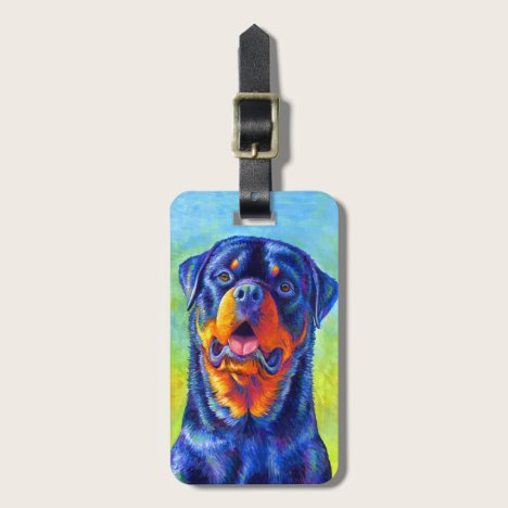 Colorful Rainbow Rottweiler Luggage Tag