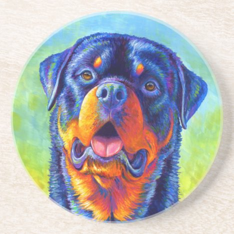 Colorful Rainbow Rottweiler Round Stone Coaster