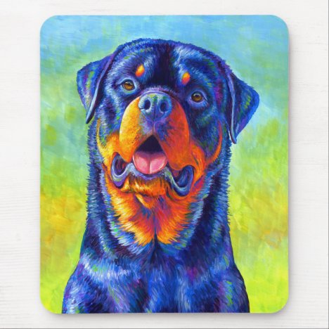 Colorful Rainbow Rottweiler Vertical Mouse pad