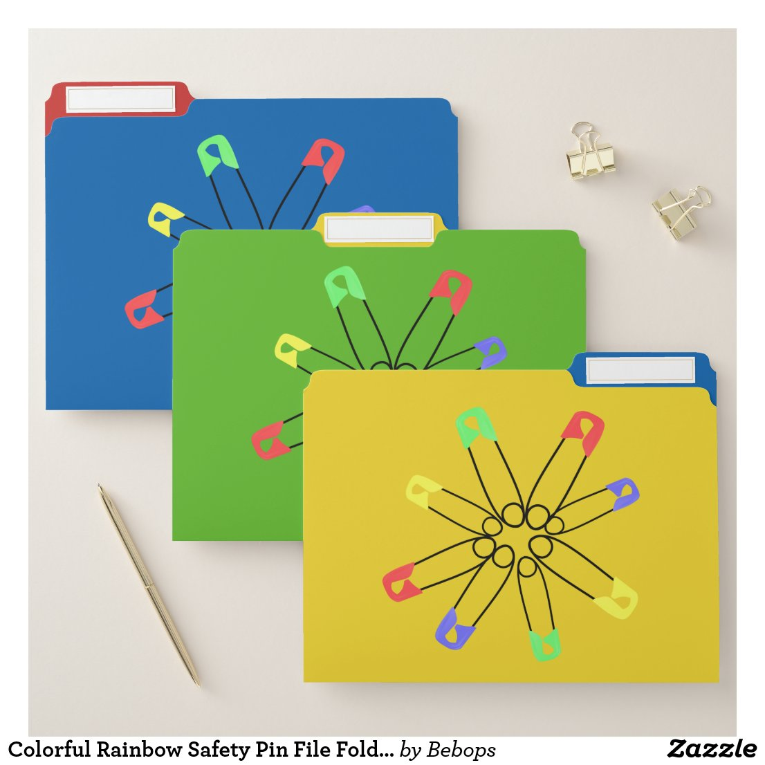 Colorful Rainbow Safety Pin File Folder Set