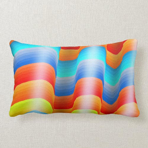 Colorful Rainbow Sarape Lumbar Pillow
