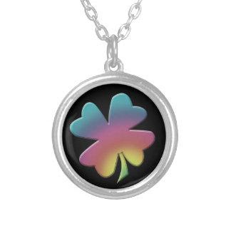 Colorful Rainbow Shamrock Necklace