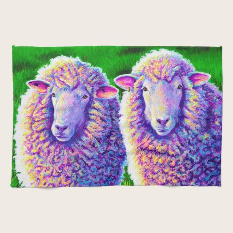 Colorful Rainbow Sheep Kitchen Towels