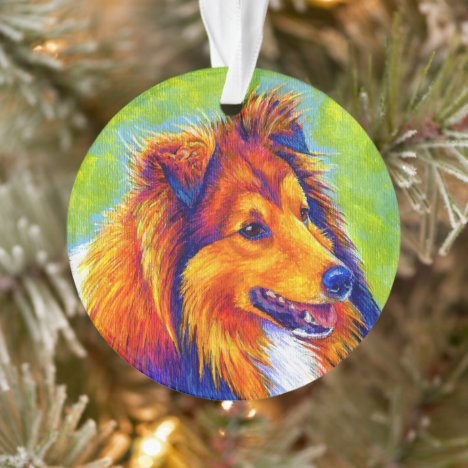 Colorful Rainbow Sheltie Dog Acrylic Ornament
