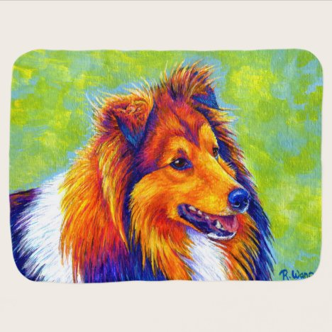 Colorful Rainbow Sheltie Dog Baby Blanket