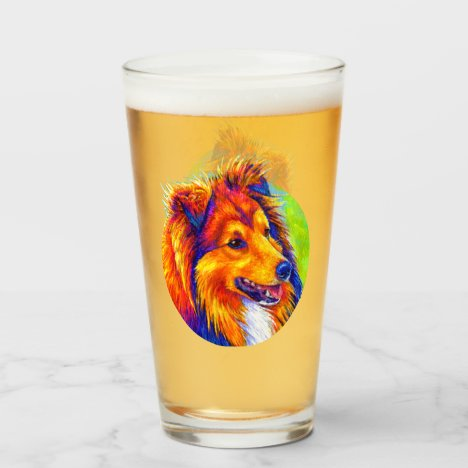Colorful Rainbow Sheltie Dog Glass Cup