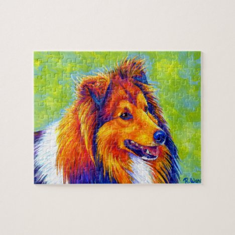 Colorful Rainbow Sheltie Dog Jigsaw Puzzle