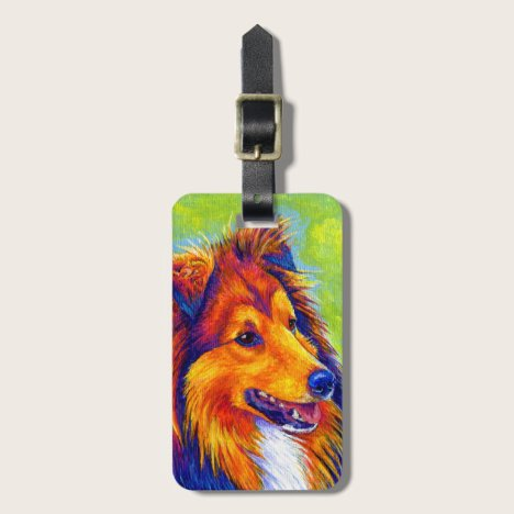 Colorful Rainbow Sheltie Dog Luggage Tag