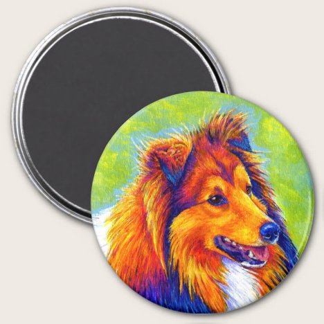 Colorful Rainbow Sheltie Dog Magnet