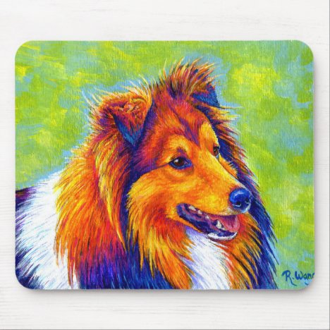 Colorful Rainbow Sheltie Dog Mousepad