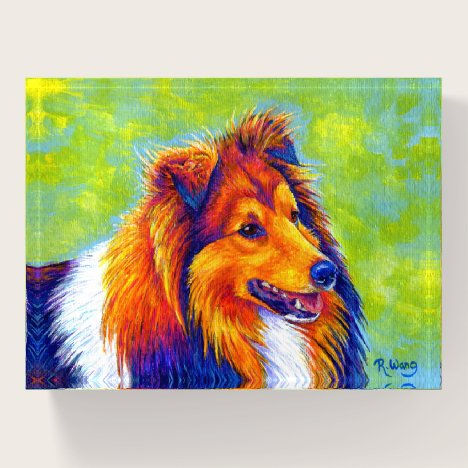 Colorful Rainbow Sheltie Dog Paperweight