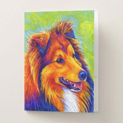 Colorful Rainbow Sheltie Dog Pocket Folder