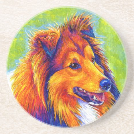Colorful Rainbow Sheltie Dog Sandstone Coaster