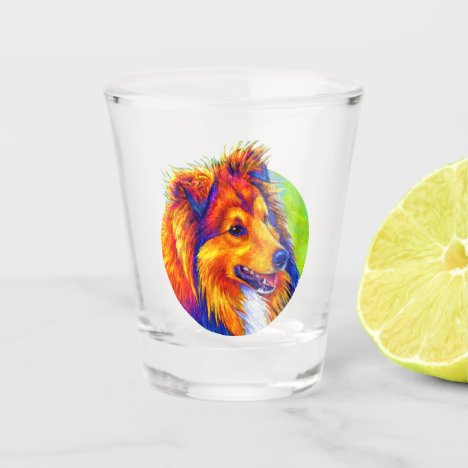 Colorful Rainbow Sheltie Dog Shot Glass