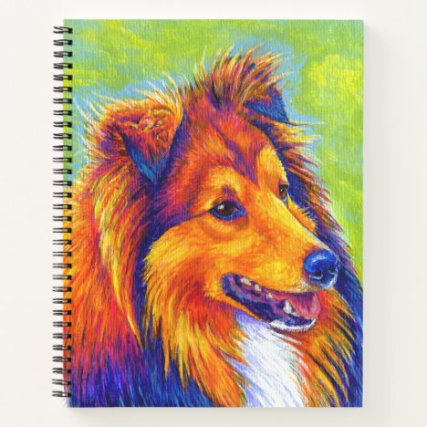 Colorful Rainbow Sheltie Dog Spiral Notebook