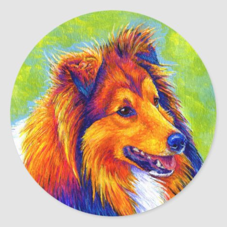 Colorful Rainbow Sheltie Dog Stickers