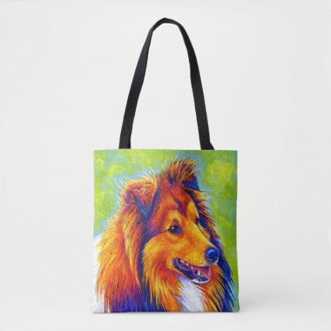 Colorful Rainbow Sheltie Dog Tote Bag