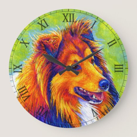 Colorful Rainbow Sheltie Dog Wall Clock