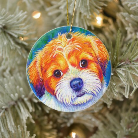 Colorful Rainbow Shih Tzu Dog Ceramic Ornament