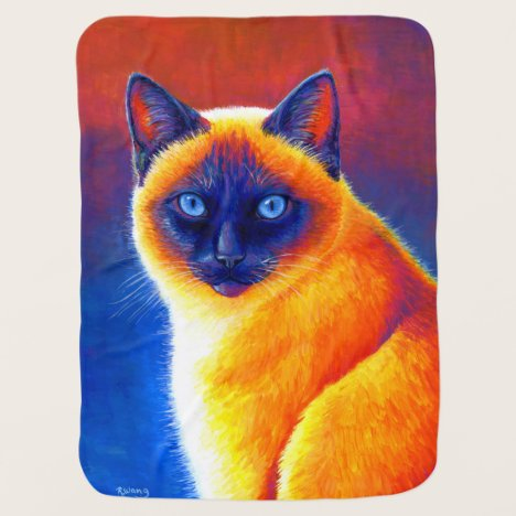 Colorful Rainbow Siamese Cat Baby Blanket