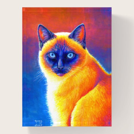 Colorful Rainbow Siamese Cat Glass Paperweight